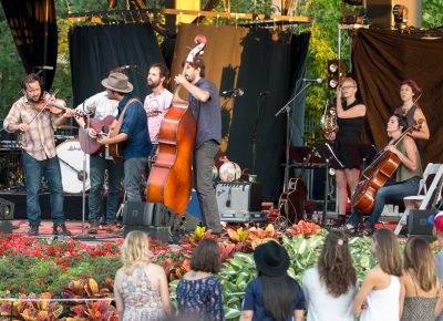 Gregory Alan Isakov's band usually includes Jeb Bows on violin, Philip Parker on cello, Steve Varney on banjo and guitar, Max Barcelow on drums, John Grigsby on bass and James Han on piano. Tonight, he added a French horn, another violin and a cello to the mix. Photo: John Barkiple