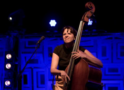 Bridget Kearney on upright bass keeps it low-key on the back row, but her finger-plucked bass lines keep Lake Street Dive on track and on message. Photo: John Barkiple