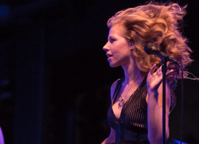Lake Street Dive's Rachael Price favors high waists and wide legs in her attire onstage; these allow her to exaggerate her gestures during her performances. In addition, her fabulous blowout bounces around her head like an energetic fifth member of the band. Photo: John Barkiple