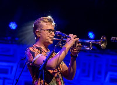 "Mike ""McDuck"" Olson plays trumpet on ""Clear a Space"" from LSD's 2012 EP Fun Machine. Photo: John Barkiple"