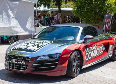 The official Salt Lake Comic Con Car, on display and available for photo ops at DIY Fest 2016. Photo: @LMSorenson