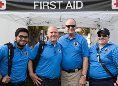 Josh, Carlos, Michele and Jan offer all the first-aid needs. Photo: Logan Sorenson / @Lmsorenson