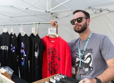 Chase of Graywhale selling alll sorts of merch at Twilight. Photo: Logan Sorenson / @Lmsorenson