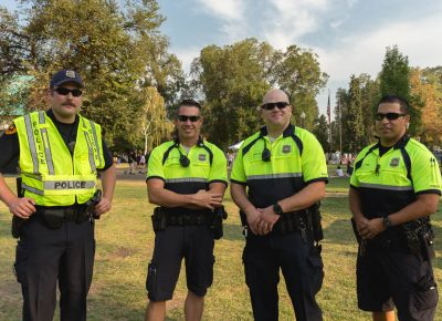 Officers of the SLPD station for the Twilight Concert Series. Photo: Logan Sorenson / @Lmsorenson