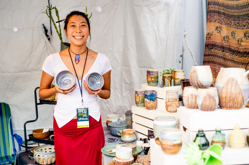 Michell Wang of Tangible Soul Pottery showing off her wares and personality. Photo: @nellis_j