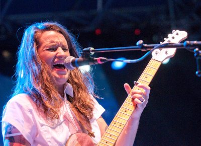 Megan McCormick singing and strumming. Photo: Scott Frederick