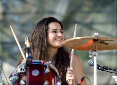 Alisa Ramirez smiles at her sister Cristal during The Aces' set. Photo: Scott Frederick