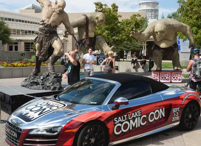 Watch out! Trolls all around are trying to squash people and the Salt Lake Comic Con car. Photo: @Lmsorenson