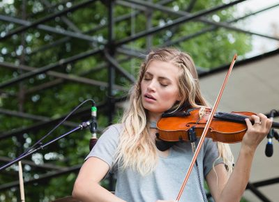Megan Taylor, providing strings for The National Parks. Photo: @Lmsorenson