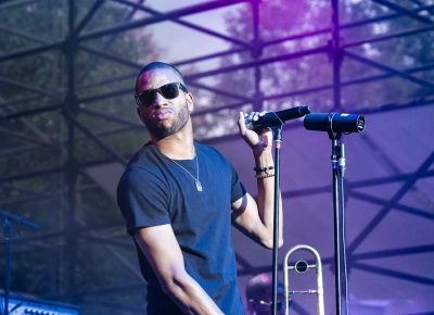 Trombone Shorty jamming to his band member's brass talent. Photo: @Lmsorenson