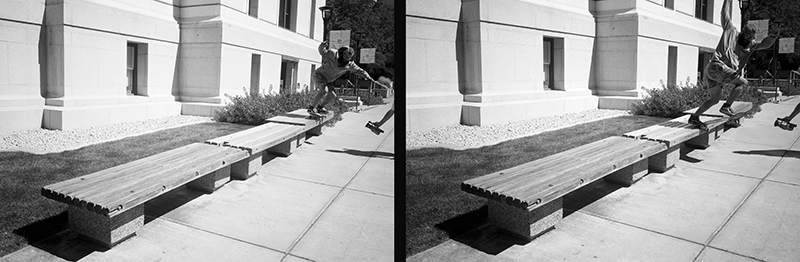 Tully Flynn, backside 50-50 to Tully grind on a bench-to-bench spot.