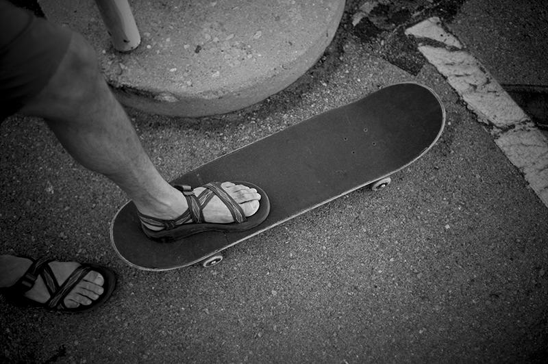 Brian Berec skated all day in Chacos. Photo: Sam Milianta