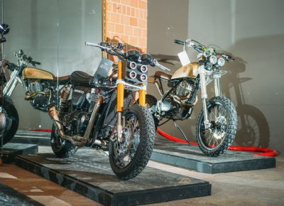 Bang Moto brought a very clean 2015 Triumph Thruxton 1200r and a 1979 Honda XL500, both heavily customized. Photo: @clancycoop