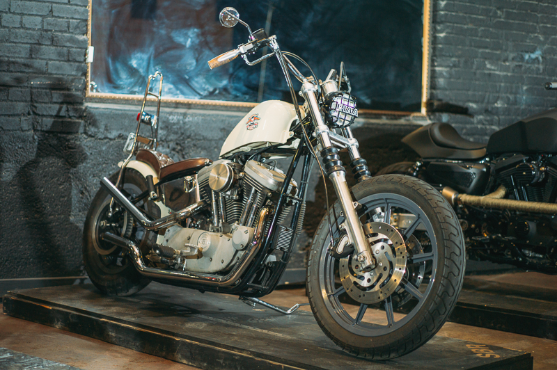 A 2000 Harley Davidson XL1200S Sportster customized by Greg Hebard of Regatta Garage. Photo: @clancycoop