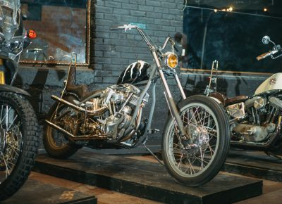 A 1965 Harley Davidson FL customized by Greg Hebard of Regatta Garage. Photo: @clancycoop