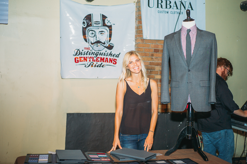 Lauren Watkins of Urbana Custom Clothier was on hand doing fittings to prepare people for the annual charitable Distinguished Gentleman's Ride for men's health, where motorcyclists ride in dapper suits instead of traditional motorcycling apparel. Photo: @clancycoop