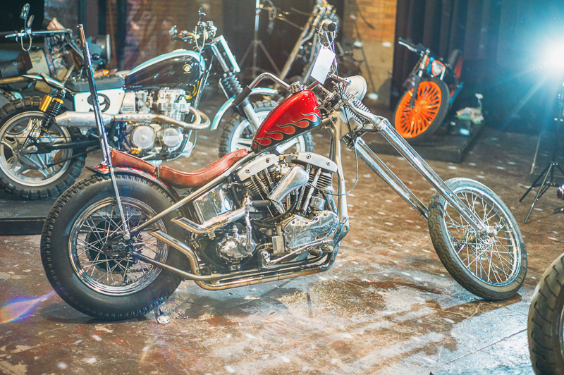 A 1983 stroker 69' Shovel Head in a 48' Pan Head frame built by Max Woolsey of Filthy Builds complete with a bayonet integrated into the sissy bar. Photo: @clancycoop