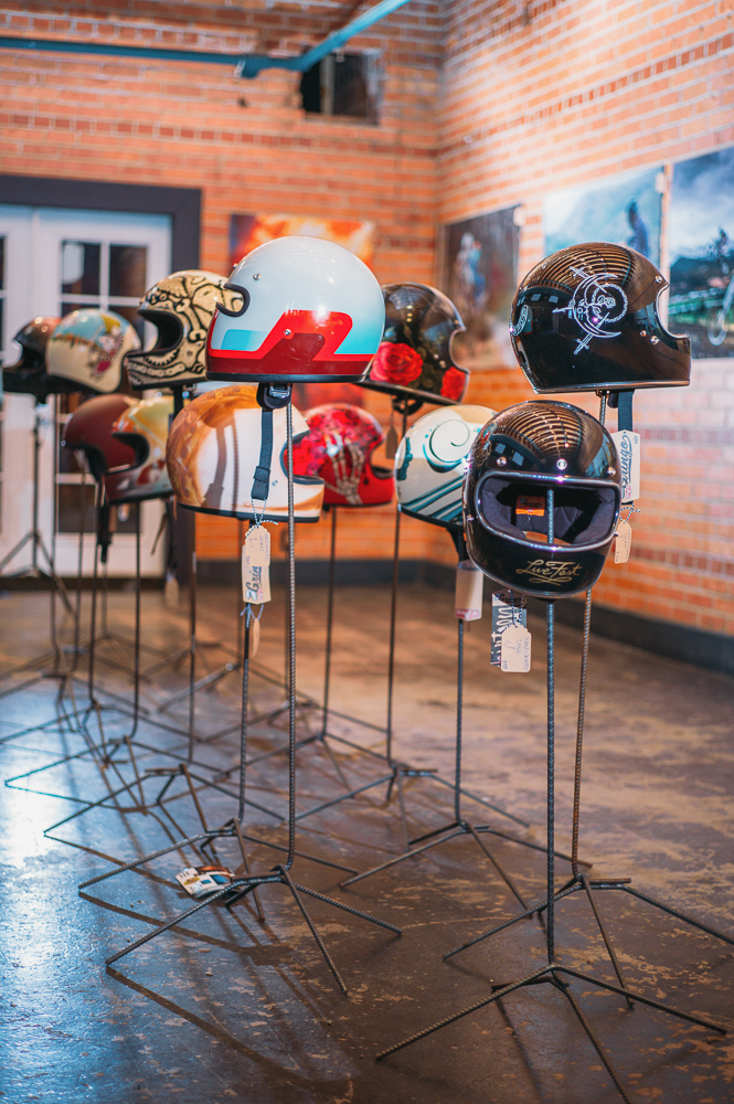 Biltwell motorcycle helmets painted by local artists were on display and for sale, mixing form and function beautifully. Photo: @clancycoop