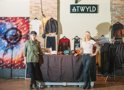 (L–R) Corinne Lan Franco and Jaime Dempsey of ATWYLD, a women's motorcycle apparel company, came from Long Beach, California bringing beautiful functional motorcycle wear for women. Photo: @clancycoop