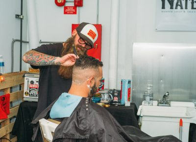 Nate Busch of Fuzzy Nates Barber Shop created a temporary shop and was doing cuts and shaves throughout the event. Photo: @clancycoop