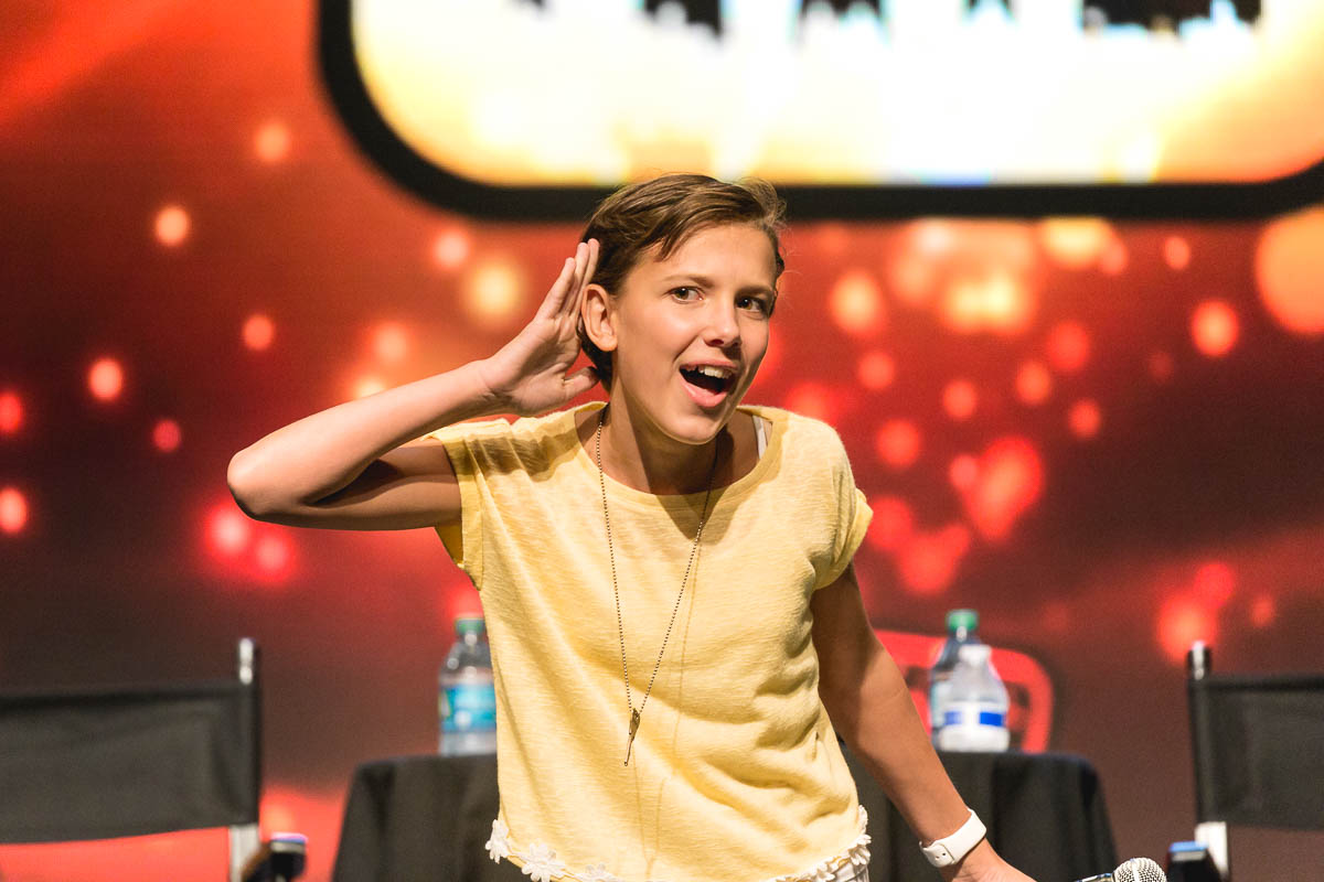 Star of the hit Netflix series Stranger Things, Millie Bobby Brown tells the audience that she can't hear their cheering. Photo: @Lmsorenson