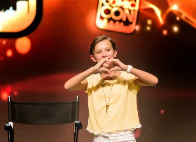 "Millie Bobby Brown, who portrays Eleven on the hit series Stranger Things, tells the Salt Lake Comic Con audience that she ""hearts"" them. Photo: @Lmsorenson"