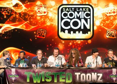 "The fabulously entertaining and irreverent voice-actor event Twisted Toonz."" During their panel at Salt Lake Comic Con, they pair famous character voices with hilariously inappropriate movie script readings by this ensemble of talented professionals. Photo: @Lmsorenson"