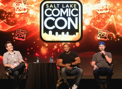 SLUG movie review writer Geek Show podcast host Jimmy Martin moderates David Ramsey and Stephen Amell from TV's The Arrow. Photo: @Lmsorenson