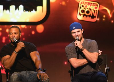 David Ramsey and Stephen Amell from TV's The Arrow during their panel at Salt Lake Comic Con. Photo: @Lmsorenson