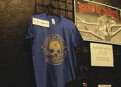 Band of Skulls tour merchandise availalble in all different sizes. Photo: Logan Sorenson @Lmsorenson
