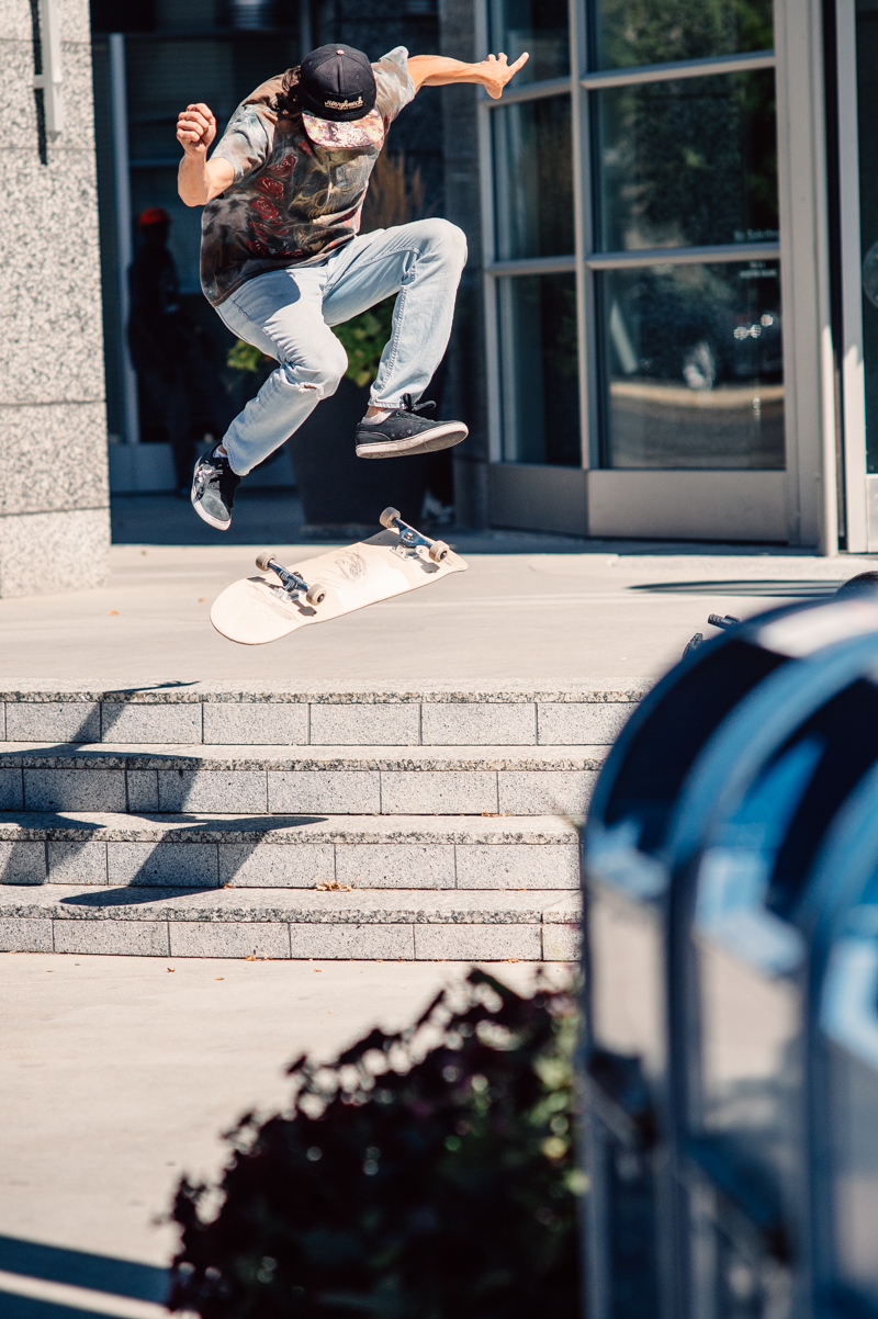 Izaak Cameron (team SSDD) with a nollie late flip down a much skated four-stair. Photo: Niels Jensen