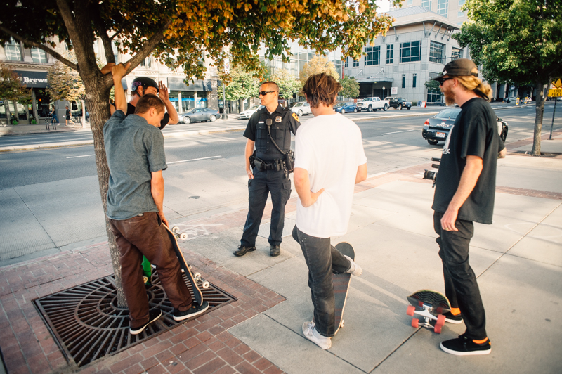 Police booted a couple crews, but were cool enough to allow one more try. Photo: Niels Jensen