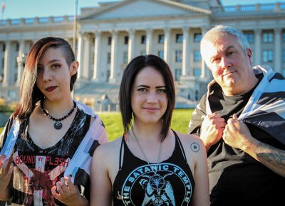(L–R) Autumn Rogers, Chalice Blythe and Aaron Shea are three core members of The Satanic Temple's Utah Chapter, established in early 2016.
