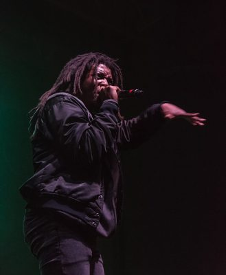 DeM Atlas gets the crowd hyped before Brother Ali and Atmosphere. Photo: ColtonMarsalaPhotography.com