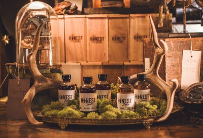 The whole squad of bitters rest on their pedestal, framed by the antlers of a former deer. Photo: Talyn Sherer