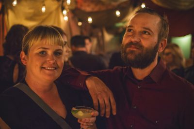 (L–R) April Gaultney smiles for the camera while John Zebra dreams of his next cocktail. Photo: Talyn Sherer