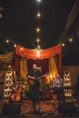 As if the venue could not be more perfectly designed, we find ourselves being lost in the soothing tones of Book on Tapeworm. Photo: Talyn Sherer
