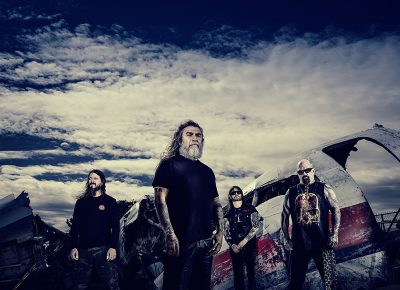 (L–R) Paul Bostaph, Tom Araya, Gary Holt, Kerry King