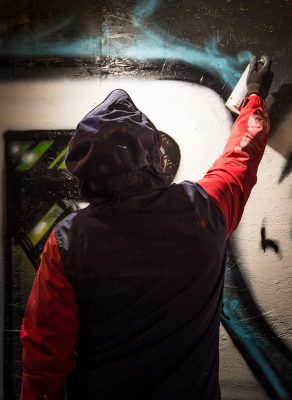 NVS crew members created live graffiti outside the Metro Music Hall. Photo: ColtonMarsalaPhotography.com