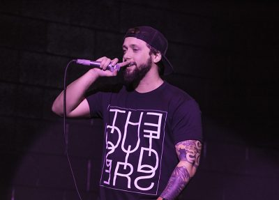A member of The Outsiders gives some appreciation to the SLC crowd for their support. Photo: ColtonMarsalaPhotography.com