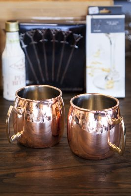 Copper Moscow Mule mugs.