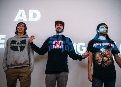 (L–R) Izaak Cameron, Mike Zanelli and Gabe Segura (Team SSDD). Photo: Niels Jensen