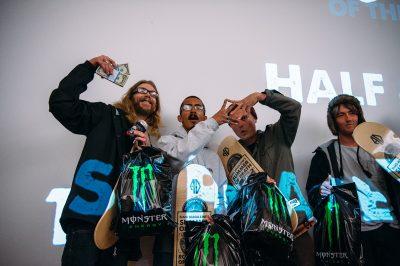 Team Half & Half took first place. Riders Jordan Vigil and Sam Hubble throw up the Sk8 Mafia sign alongside Nick Hubble and Half & Half shop owner Milton. Photo: Niels Jensen