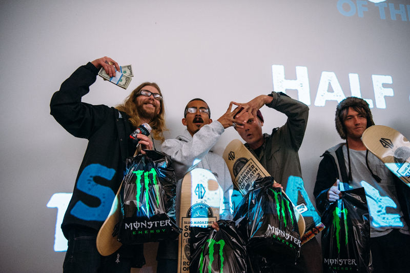 Team Half & Half took first place. Riders Jordan Vigil and Sam Hubble throw up the Sk8 Mafia sign alongside Nick Hubble and Half & Half shop owner Milton. Photo: Niels Jensen