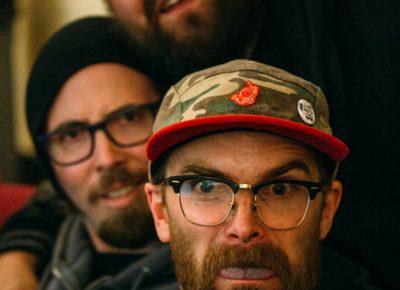 Caleb Orton, Erik Jensen (editor of the AD video) and Panda. Photo: Niels Jensen