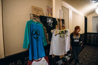 Jared Smith presents handprinted After Dark merchandise, available for sale at the screening. Photo: Niels Jensen