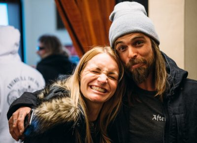 (R–L) Mark Judd and his wife, Madison, are stoked for the night. Photo: Niels Jensen