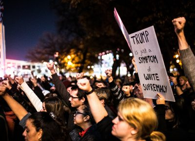 Protesters rally against Trump as a symptom of white supremacy. Photo: Dave Brewer & Gabe Mejia // Photo Collective Studios