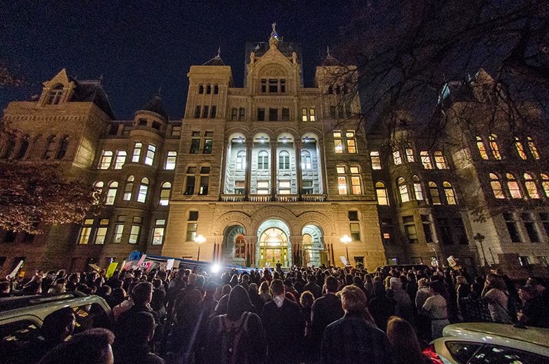 Saddened and confused citizens gather at the steps of the Salt Lake City and County Building to build a better future. Photo: Dave Brewer & Gabe Mejia // Photo Collective Studios