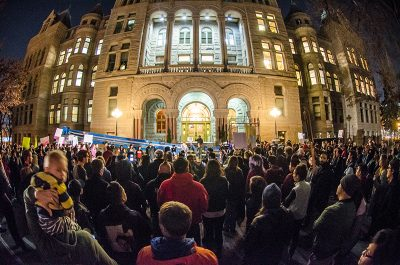 A large crowd gathers in solidarity to determine the next steps to move forward. Photo: Dave Brewer & Gabe Mejia // Photo Collective Studios